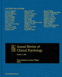 Annual Review Of Clinical Psychology 2009 book