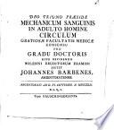 Mechanicum Sanguinis In Adulto Homine Circulum