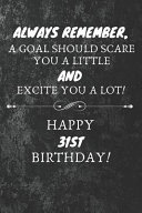 Always Remember A Goal Should Scare You A Little And Excite You A Lot Happy 31st Birthday