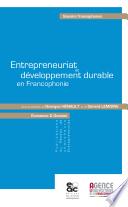 Entrepreneuriat et d  veloppement durable en Francophonie