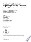 Possible contributions of cement and concrete technology to energy conservation