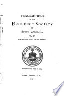 Transactions of the Huguenot Society of South Carolina