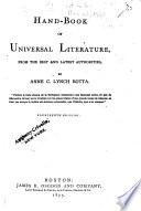 Hand-book of Universal Literature ...