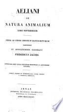 Aelianii De natura animalium libri XVII