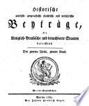 Historische politisch-geographisch-statistisch- und militärische Beyträge, die königlich-preußischen und benachbarte Staaten betreffend