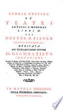 Storia critica de  teatri antichi et moderni libri III