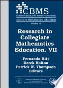research in collegiate mathematics education vii