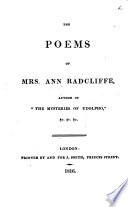 The Poems of Mrs  Ann Radcliffe
