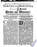 Copia instrumenti Turcici cum Moscovita oder Copia des Vergleichs ... bey Carlowitz 25. Dec. 1698 getroffen