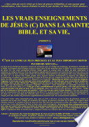 Les vrais enseignements de Jésus (C) dans la Bible, sa vie