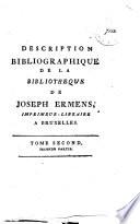 Catalogue de vente des livres de Joseph Ermens  du 12 novembre    16 decembre 1805