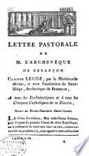 Lettre pastorale       tous les eccl  siastiques et    tous les citoyens catholiques du dioc  se de Besan  on sur le concordat
