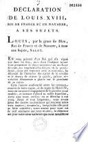 D  claration de Louis XVIII        ses sujets  juillet 1795
