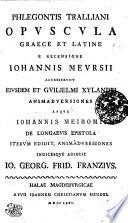 Phlegontis Tralliani Opuscula Graece et Latine
