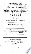 Búnaðar-rit Suður-amtsins Húss- og bú-stjórnar félags