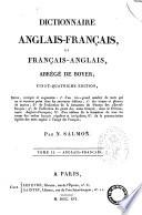 Dictionnaire Francais anglais Et Anglais francais  Abrege de Boyer  Tome I er  II