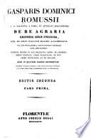 Gasparis Dominici Romussii ... De re agraria responsa mere juridica, atq[ue] ad usum italicum maxime accommodata ...