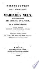 Dissertation sur la réhabilitation des mariages nuls