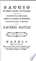 Saggio di poesie latine ed italiane