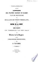 Verhandeling over de: Aanwijsing der politike gronden en maximen van de Republike van Holland en West-Vriesland, van Pieter de la Court