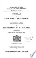Classified List of Gazetted Establishment of Indian Railways