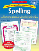 Spelling  Week by week Homework Packets