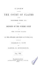 Cases Decided In The Court Of Claims Of The United States