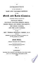 An Introduction to the Knowledge of Rare and Valuable Editions of the Greek and Latin Classics  Together with an Account of Polyglot Bibles Etc  4  Ed