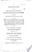 A Catalogue Of The Duplicates Of The Library Of ... The Duke Of Devonshire ... Which Will Be Sold By Auction, By R. H. Evans ... November 24 [1815], Etc : ...