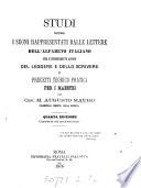 Studi sopra i suoni rappresentati dalle lettere dell  alfabeto italiano