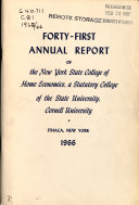 Annual Report Of The New York State College Of Home Economics A Statutory College Of The State University Cornell University
