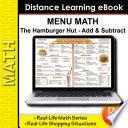 Menu Math The Hamburger Hut  book