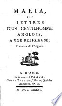 Marie ou lettres d un gentilhomme anglais        une relgieuse