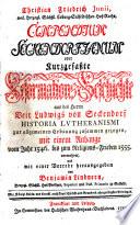 Compendium Seckendorfianum oder Kurzgefasste Reformationsgeschichte