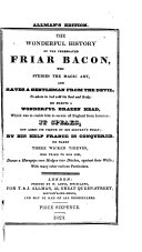 The Wonderful History of the Celebrated Friar Bacon