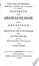 Handbuch der Archaeologie oder