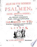 Alle De Vyf Boeken Der Psalmen Van David Asaph En Andere