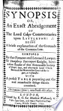download ebook an abridgement of the lord coke's commentary on littleton. collected by an unknown author; yet by a late edition pretended to be sir humphrey davenports kt. and in this second impression purged from ... many ... errors committed in the said former edition pdf epub
