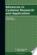 Advances In Cysteine Research And Application 2011 Edition