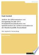 Analyse des Jahresumsatzes von Exergaming im Jahr 2011  Produktlebenszykluskosten von Spielekonsolen der siebten Generation in der Bundesrepublik Deutschland