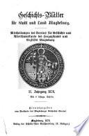 Geschichtsblätter für Stadt und Land Magdeburg0