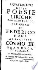 I quattro libri delle Poesie liriche parafrasi di Federigo Nomi