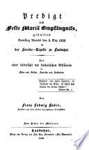 Predigt am Feste Mariä Empfängniß gehalten Samstag abends, den 8. Dec. 1838 in der Loretto-Capelle zu Landshut