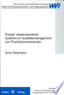 Einsatz wissensbasierter Systeme in Qualitätsmanagement von Produktionsverbünden
