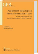 Assignment in European Private International Law