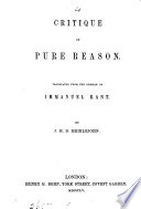 Critique of pure reason  tr  by J M D  Meiklejohn