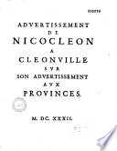 Advertissement de Nicocleon [i. e. M. de Morgues] a Cleonville [i. e. Jean Sirmond] sur son Advertissement aux provinces