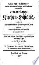 Theodor R  lings  Weiland wolverdienten Predigers zu S  Catharinen in Osnabr  ck  Osnabr  cksche Kirchen Historie
