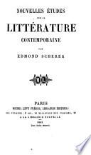 Nouvelles études sur la littérature contemporaine