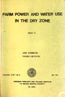 Farm Power and Water Use in the Dry Zone: without special title